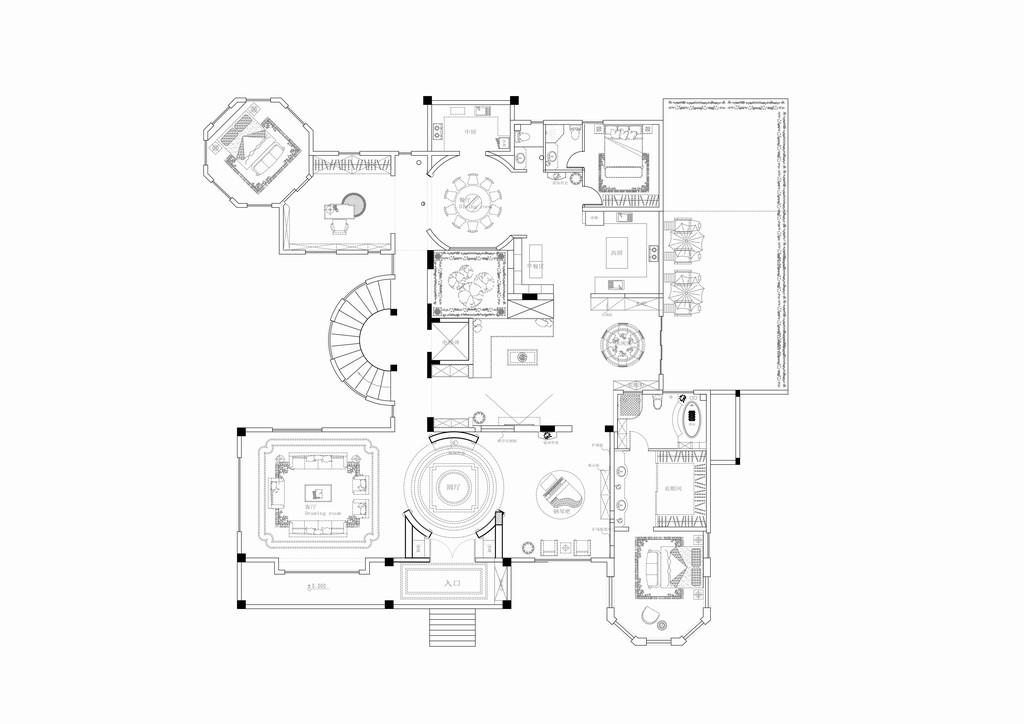 丛林庄别墅-新中式-1200平米装修设计理念