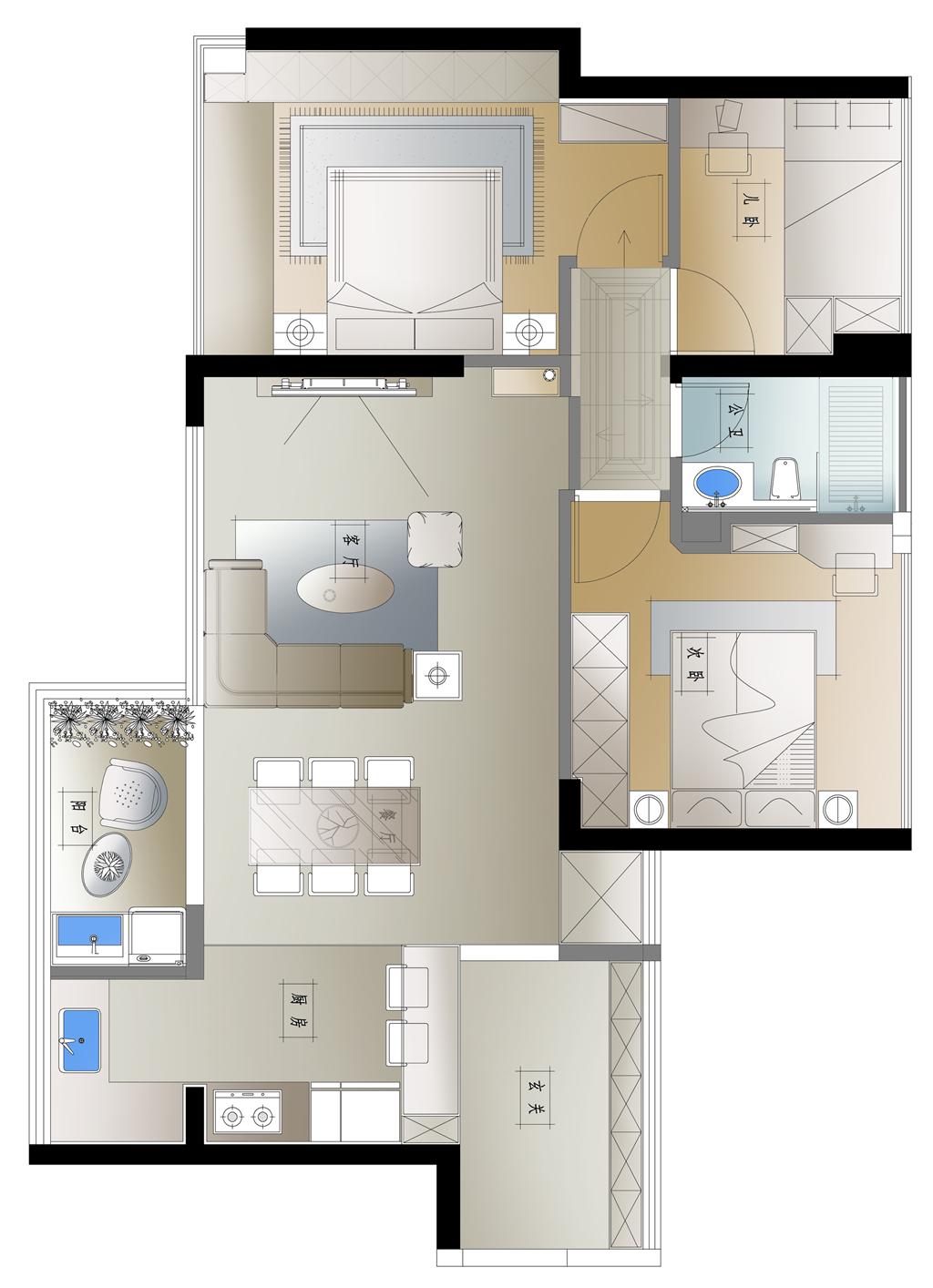 佳兆业前海广场  现代风格装修效果图 89平米小户型案例装修设计理念