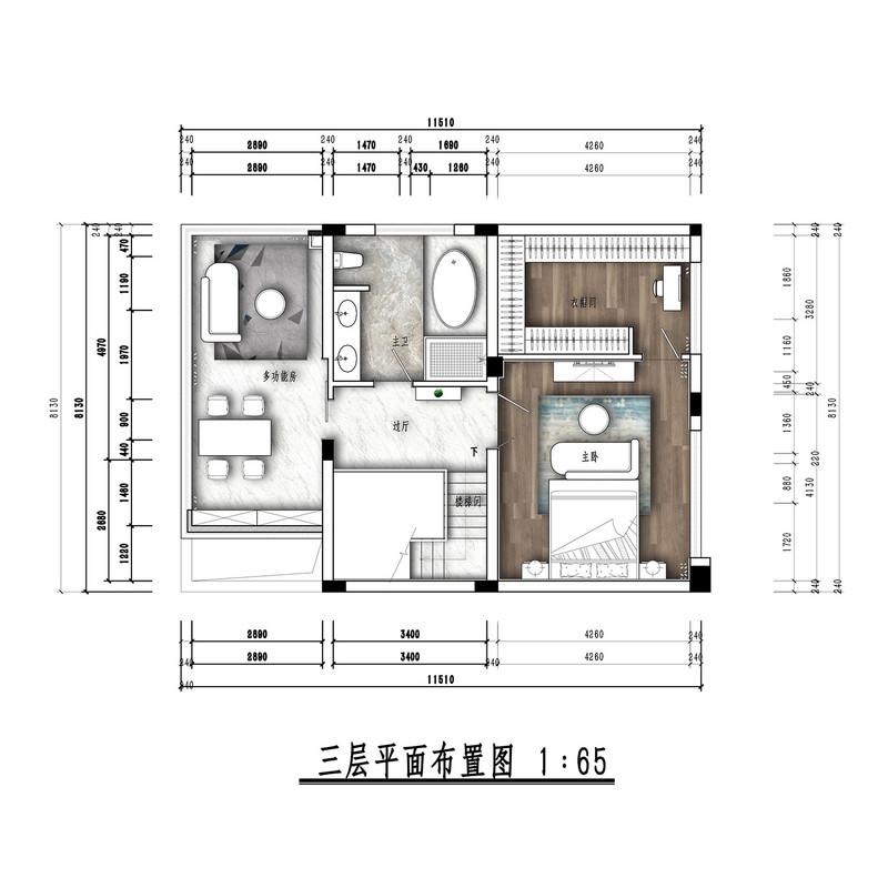 本案是绿地悦蓉公馆173的双拼别墅。原户型有很多缺点:大门与客厅的关系;楼梯的尺度;厨房及餐厅的位置;主卫的位置及尺度等等。在平面规划设计上重点规避以上诸多缺点 这是一个法式格调与现代艺术元素相结合的案子。优雅的法式经典色、丝质布艺与地毯纹样、挂画、灯具相搭配,展现了精致、细腻兼具自由、高贵的空间格调。