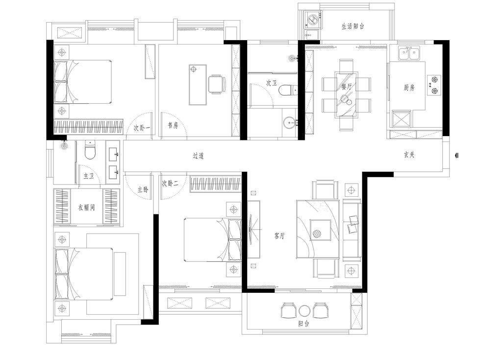 泷悦华府144平米现代新中式装修效果图装修设计理念