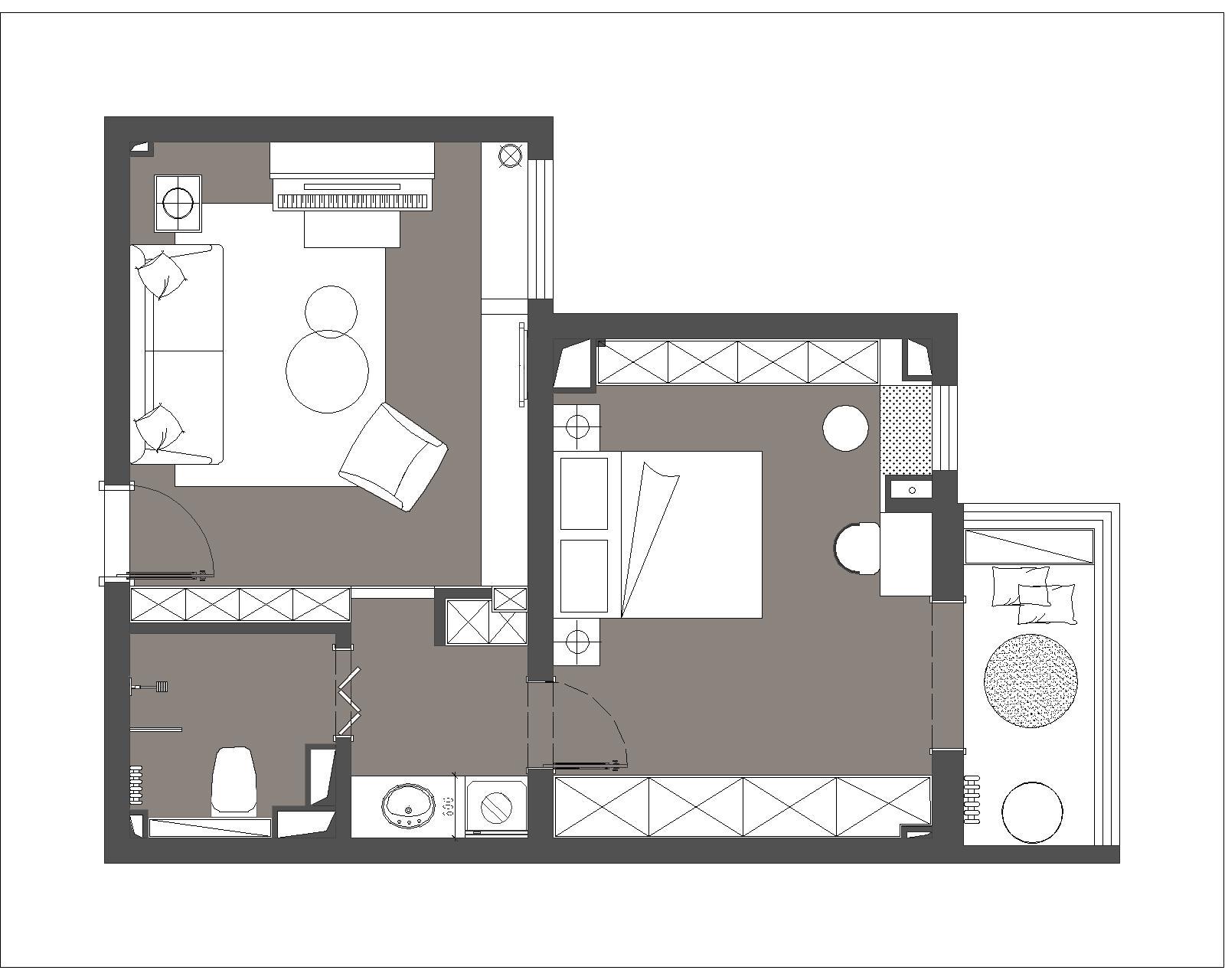 恬心家园-45平米-现代风格装修设计理念