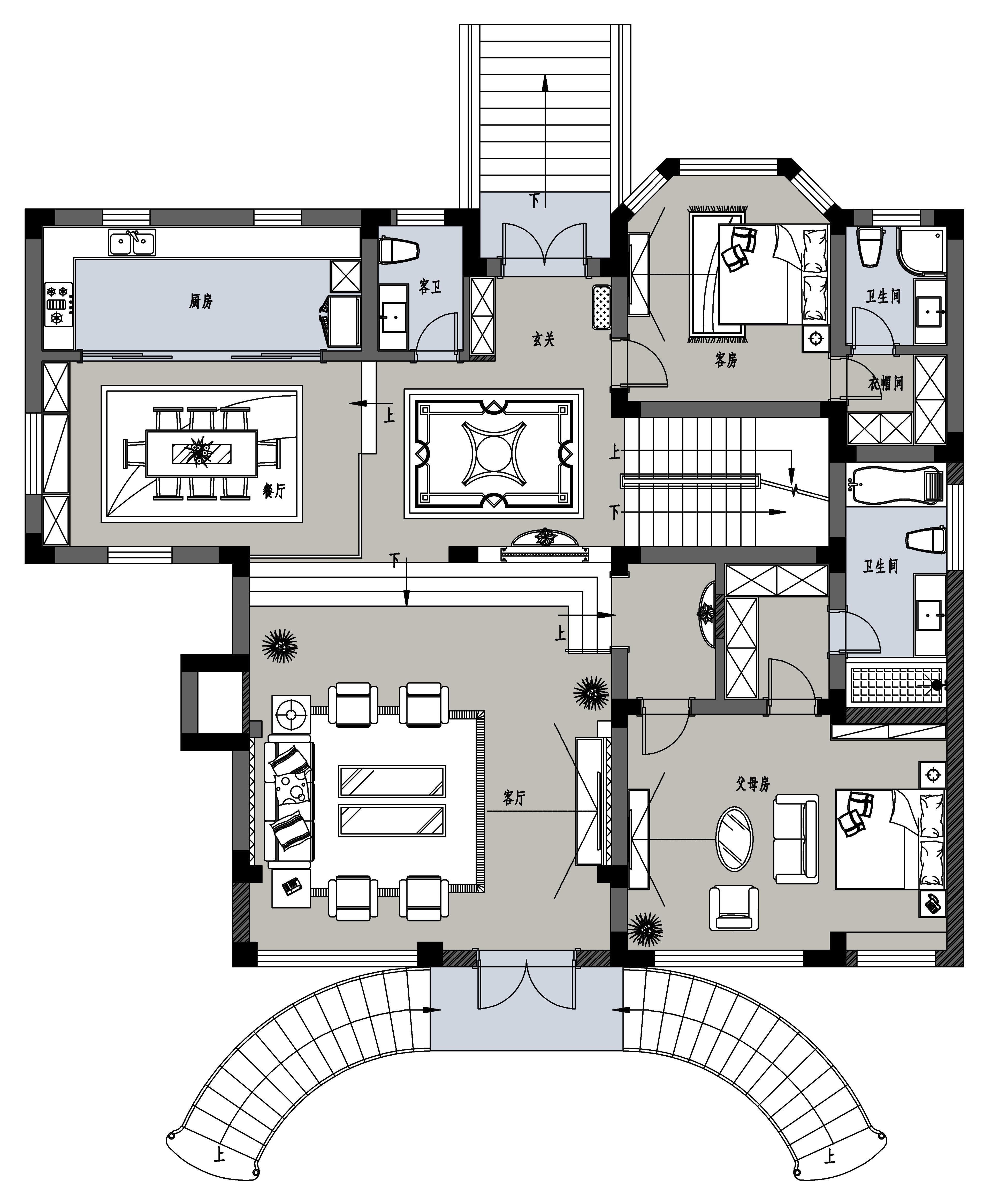 豪门府邸新中式470㎡装修设计理念