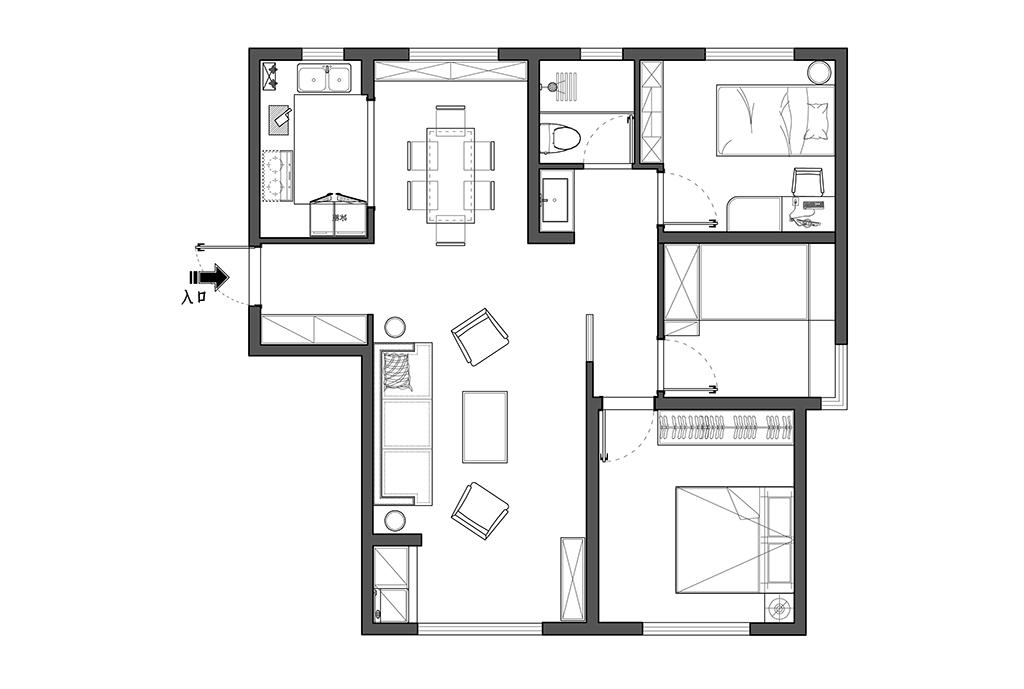 昆明澜庭 新中式装修效果图 3室2厅 118㎡装修设计理念