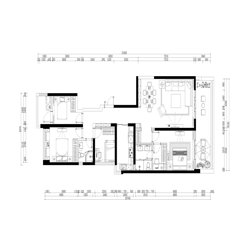 大康福临门 现代简约装修风格效果图 178平米装修设计理念