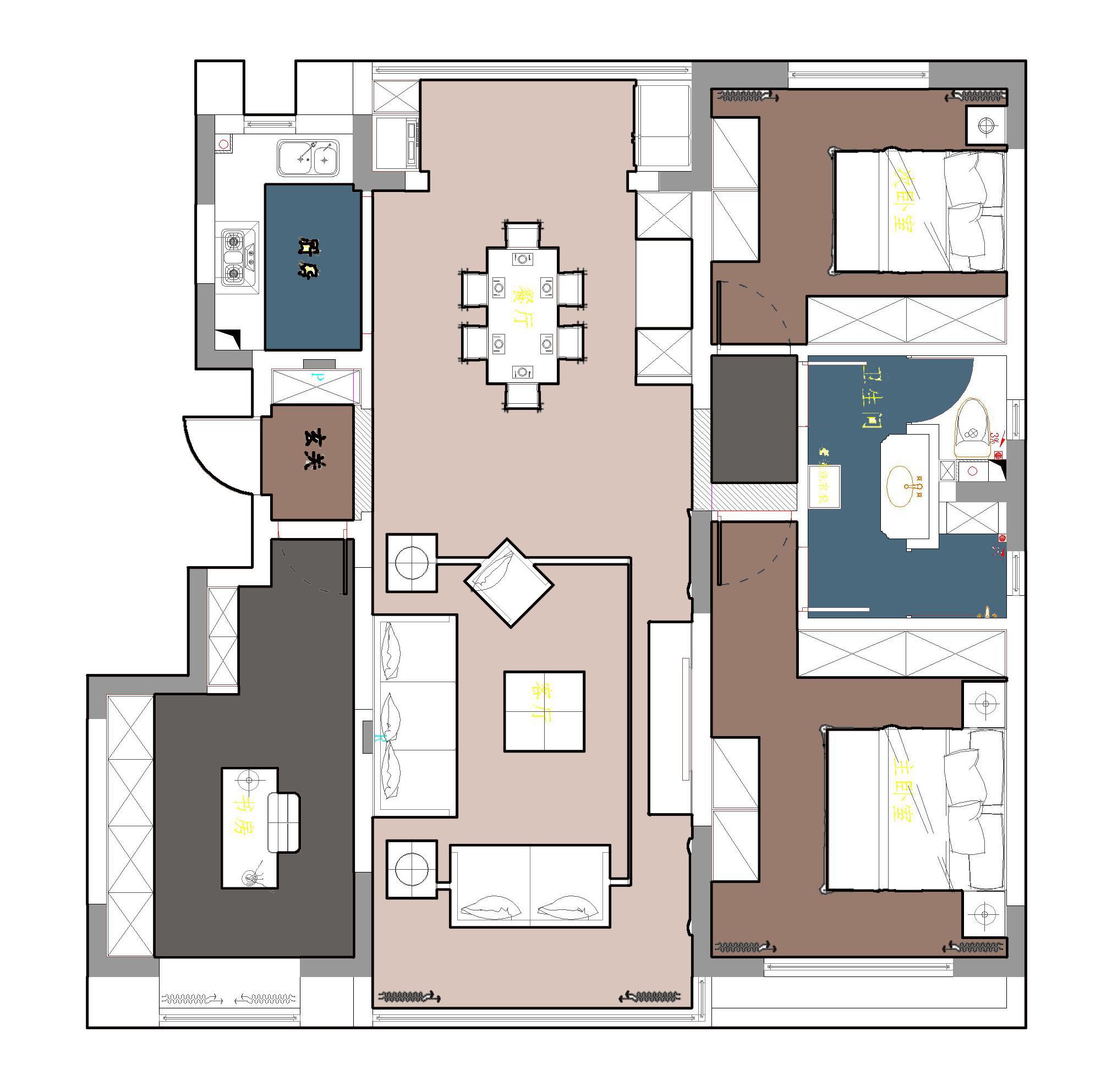中航城·两河流域简欧风格111平效果图装修设计理念