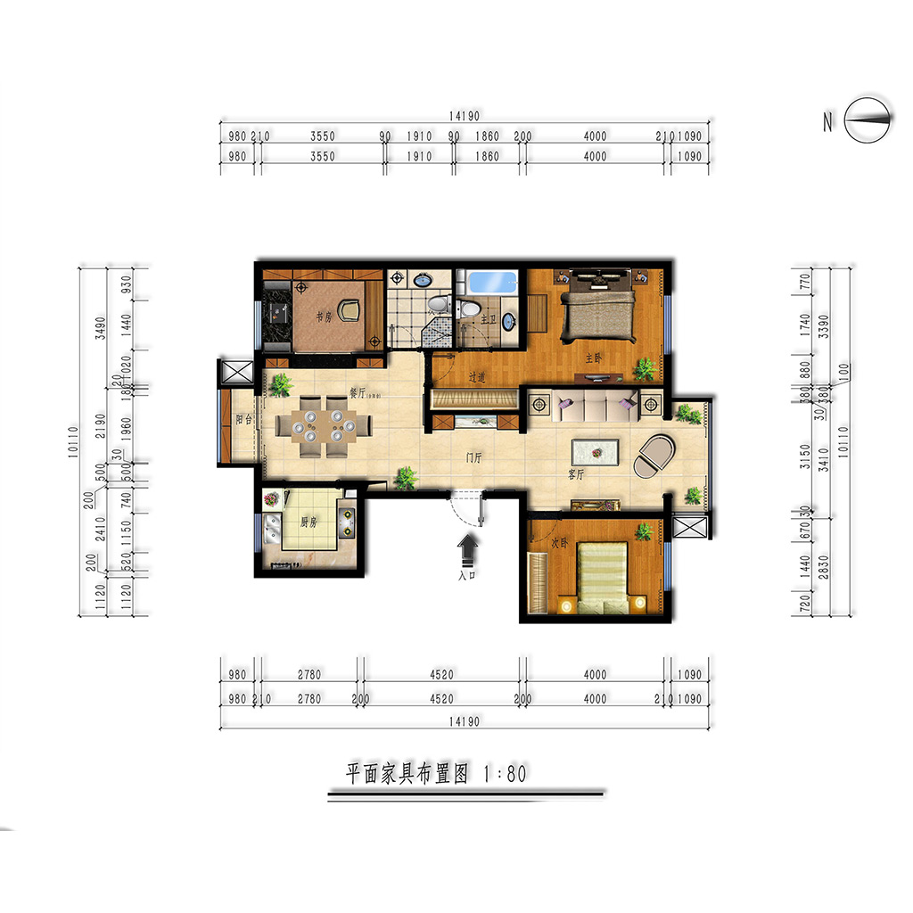 福海棠华苑110㎡三居室样板间新中式风格效果图装修设计理念