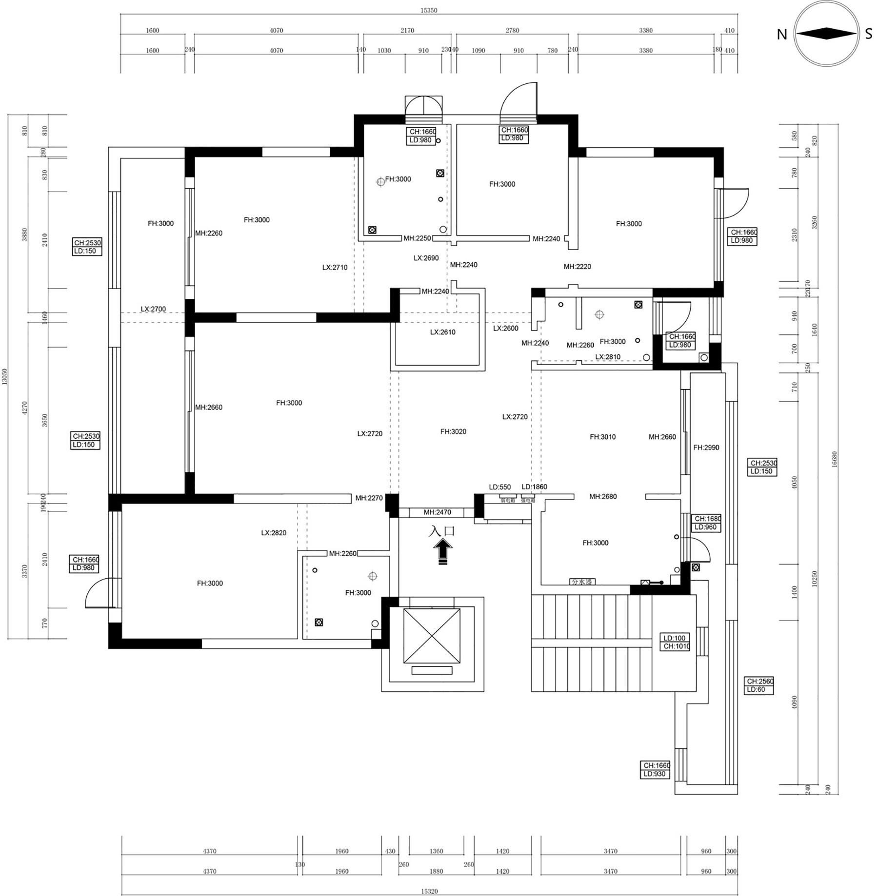 蓝城兰园183㎡现代简约性状style装潢成果图装潢策划愿景