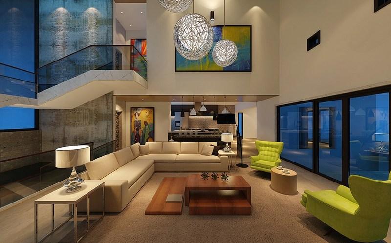 华侨曦城1200㎡-后现代风格-别墅一楼客厅装修效果图