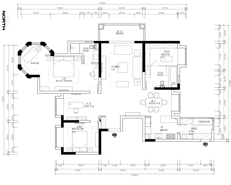 中南世纪花城180平现代简约装修案例装修设计理念
