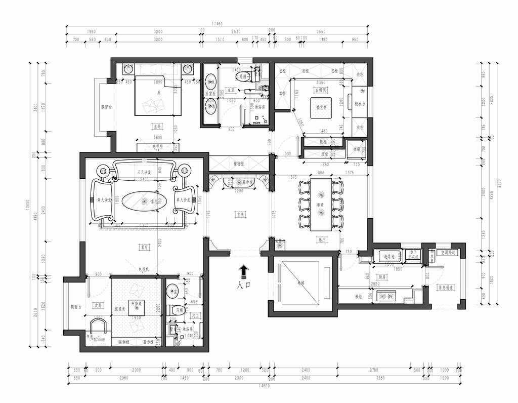 混搭风格-120平米-首开·熙悦尚郡家园装修设计理念