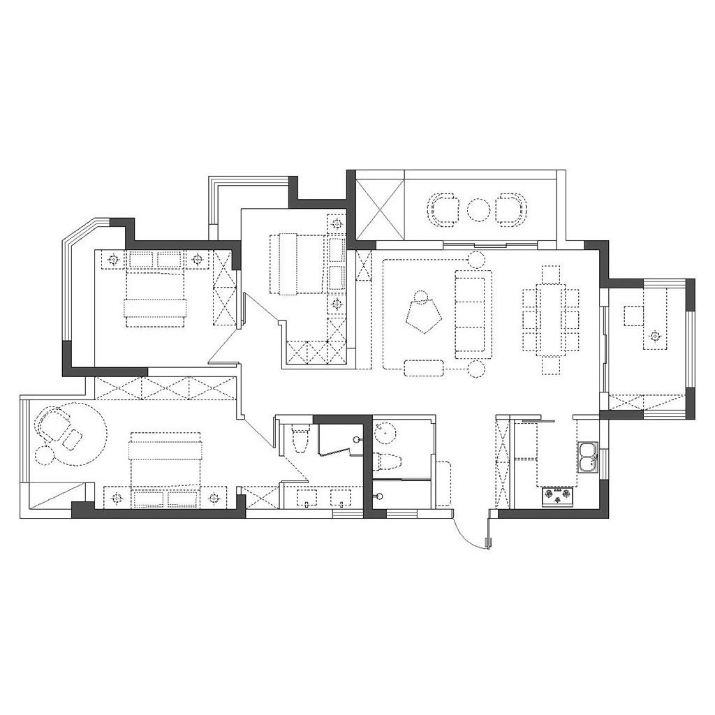 龙湖晶蓝半岛138㎡三居室现代简美轻奢风格装修设计理念