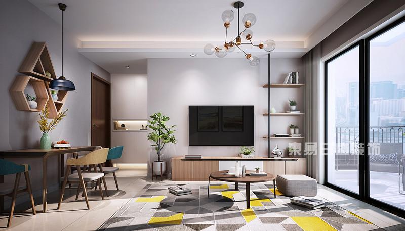 北欧风格客厅电视背景墙装修效果图_东易日盛设计