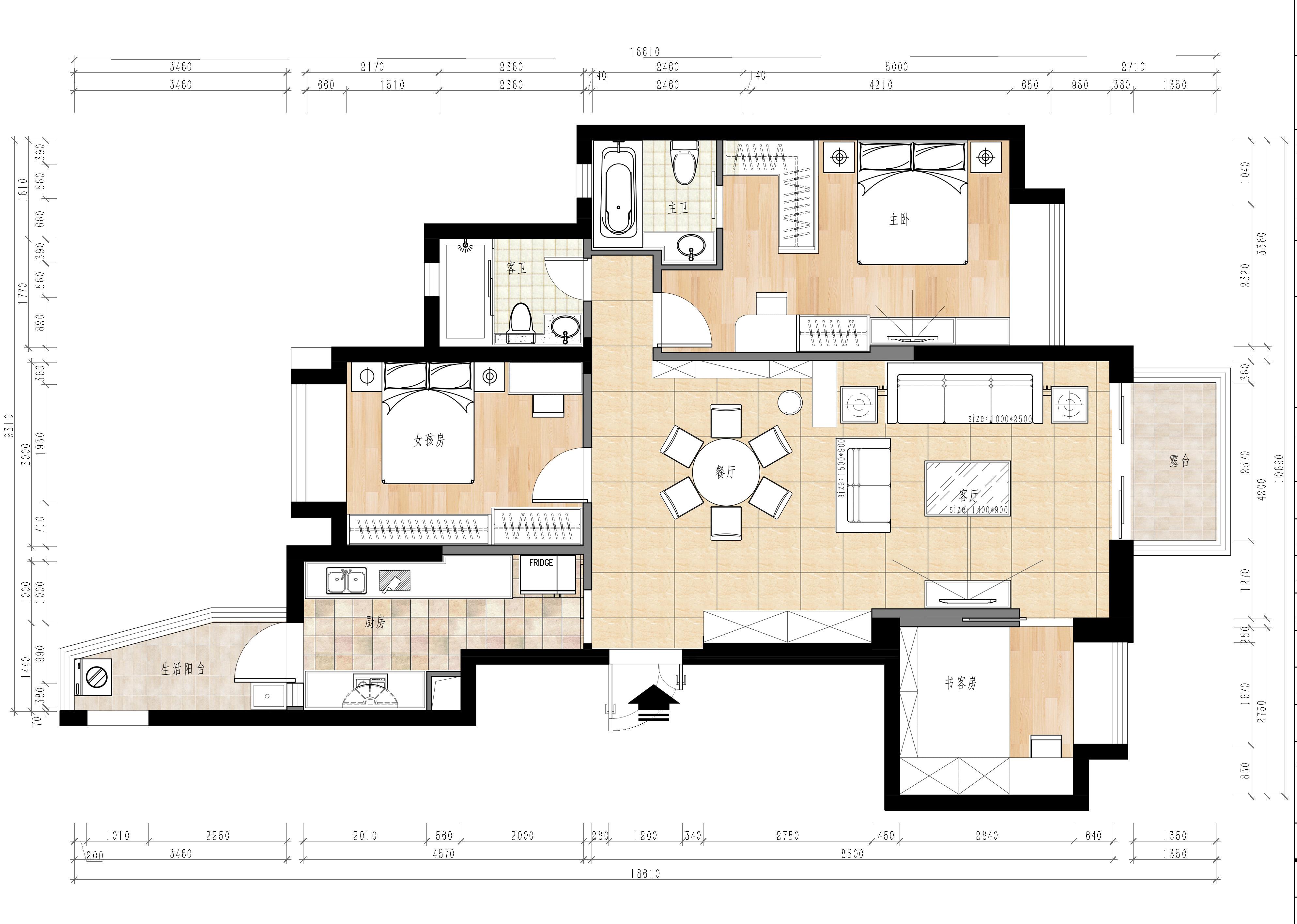 涟岸花园 127㎡现代风公寓装修效果图装修设计理念