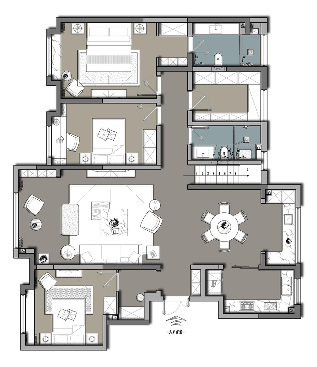 自然界云栖 现代简约装修效果图 复式 212m² 设计师黄小平装修设计理念