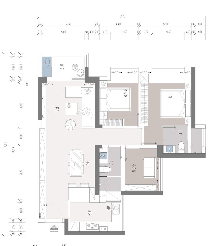 华润城 现代中式家装效果图 三室两厅两卫 150平米装修设计理念