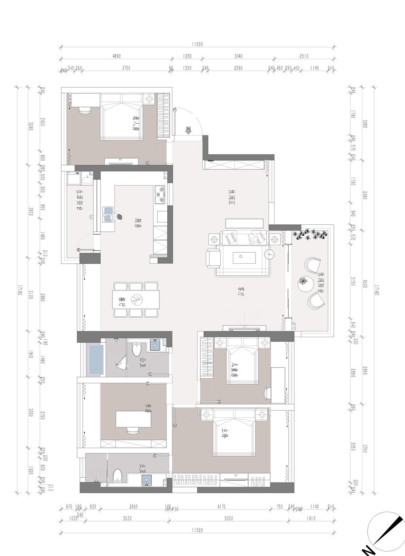 鸿荣源尚峰 现代中式家装效果图 三室两厅两卫 150平米装修设计理念