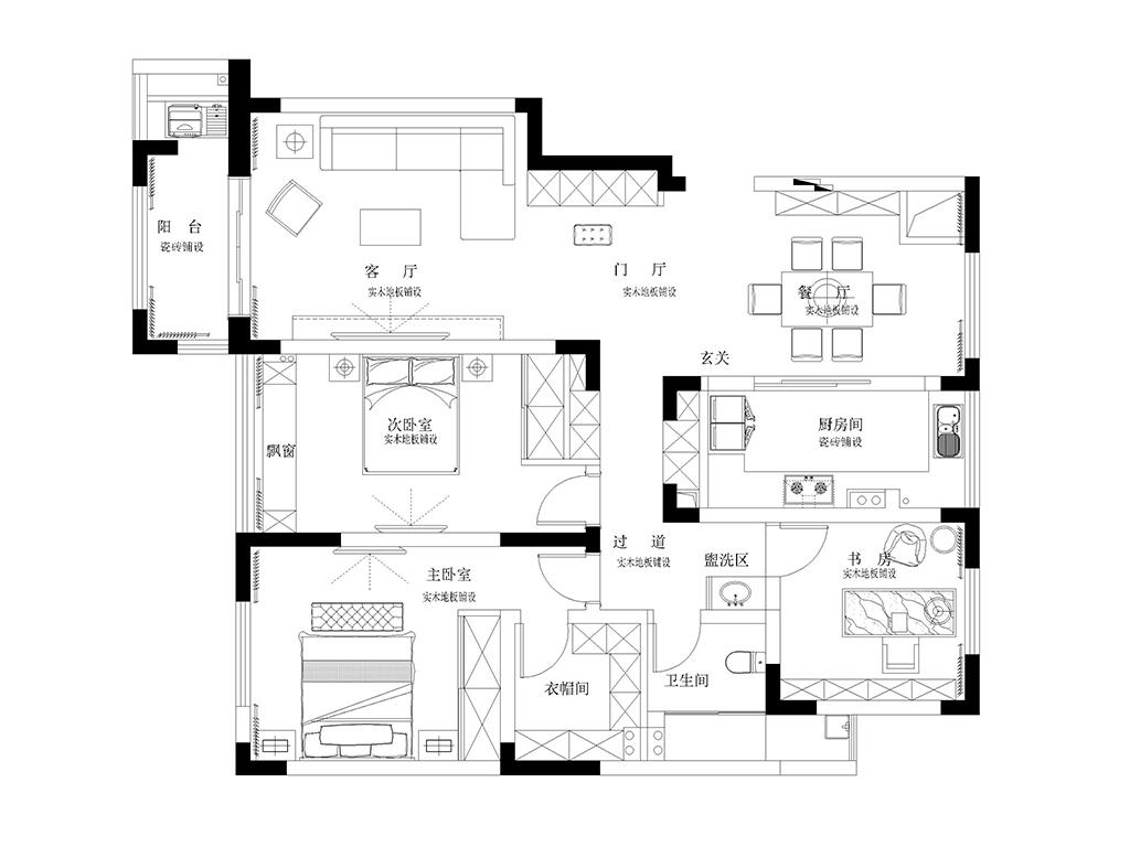 城市嘉园135平新中式装修设计理念