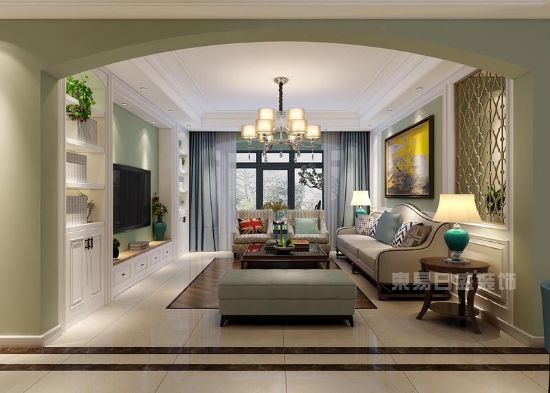 沙发背景墙_160平方美式装修效果图