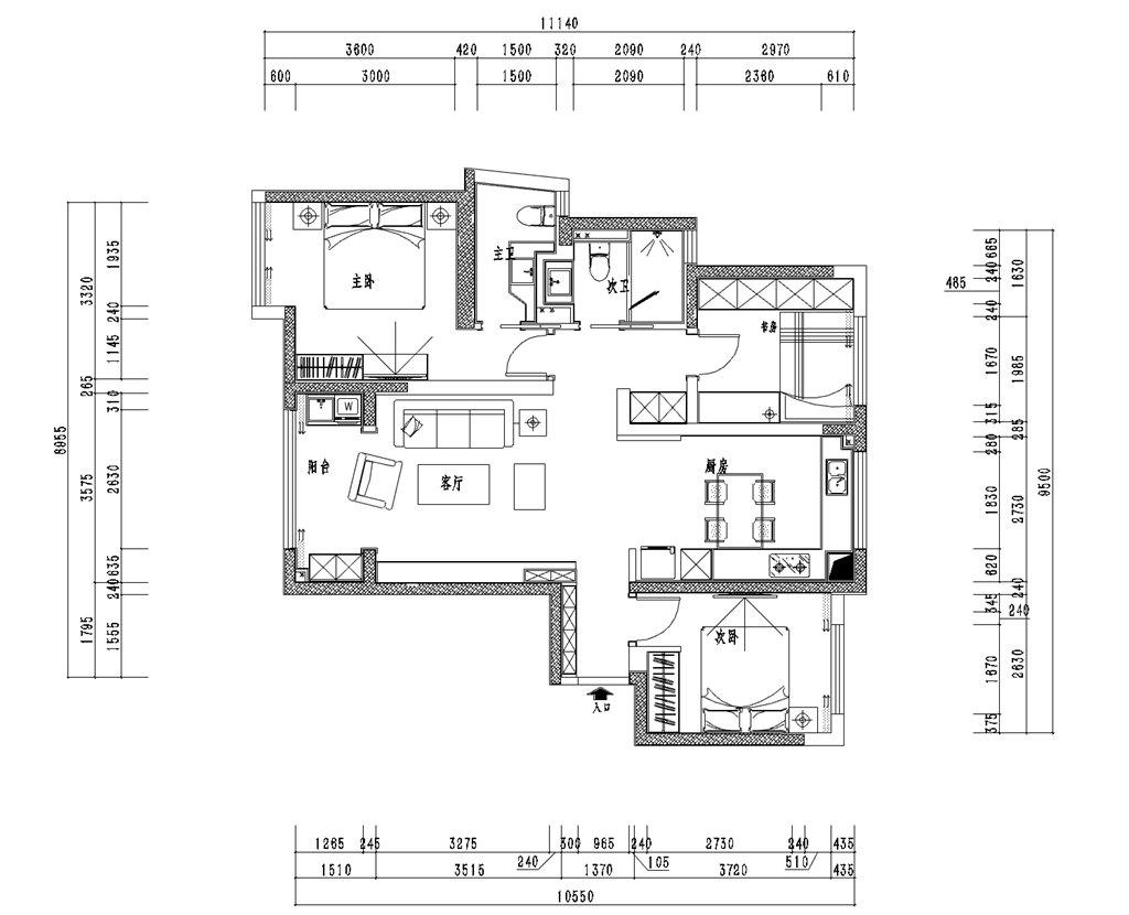 巴黎春天110平米美式风格装修效果图装修设计理念