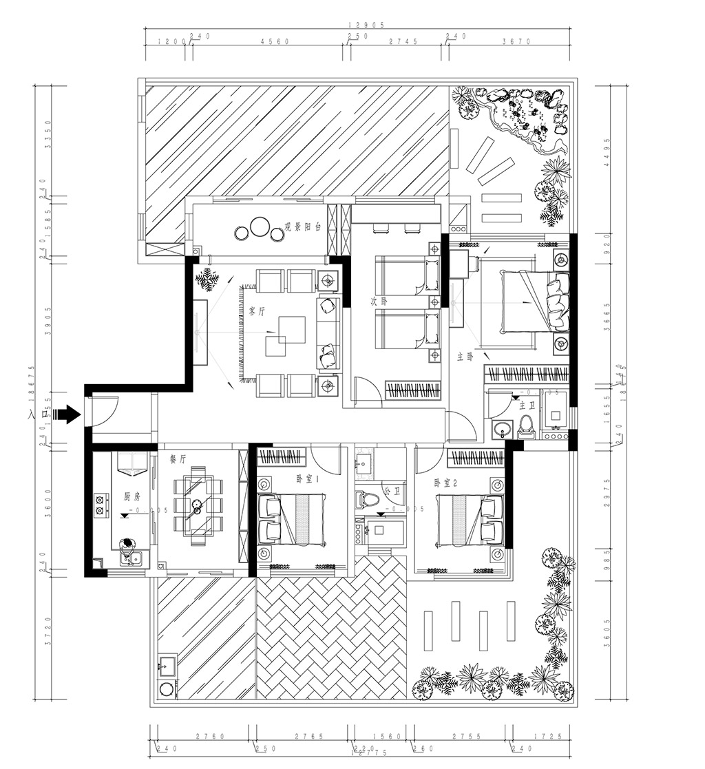 东莞金地湖山大境装修案例-145㎡新中式四房二厅装修效果图装修设计理念