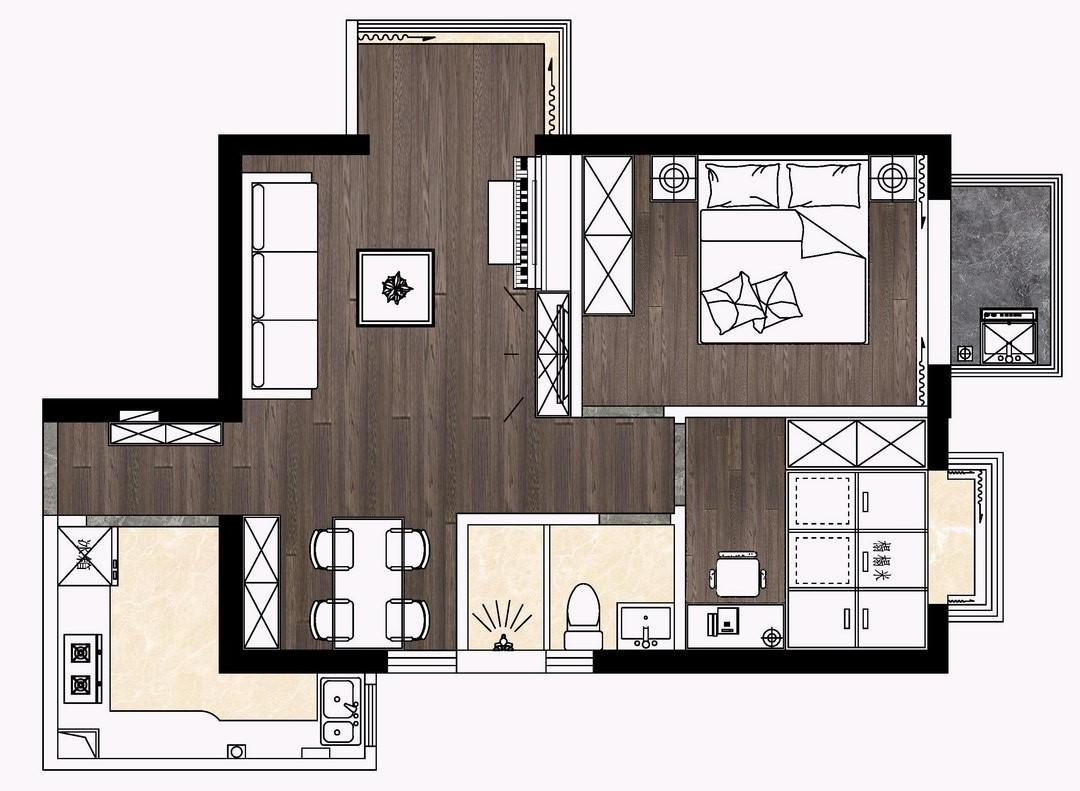 金众金茵阁-70平米装修-现代简约风格设计案例装修设计理念