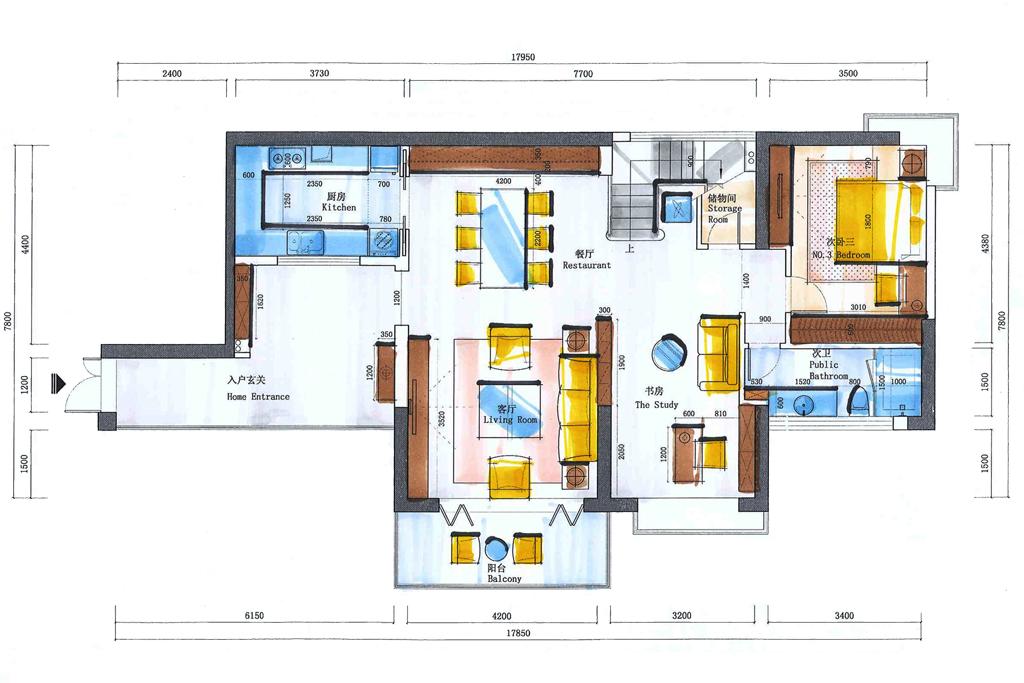 蓝郡西堤-新中式-261平-装修效果图装修设计理念