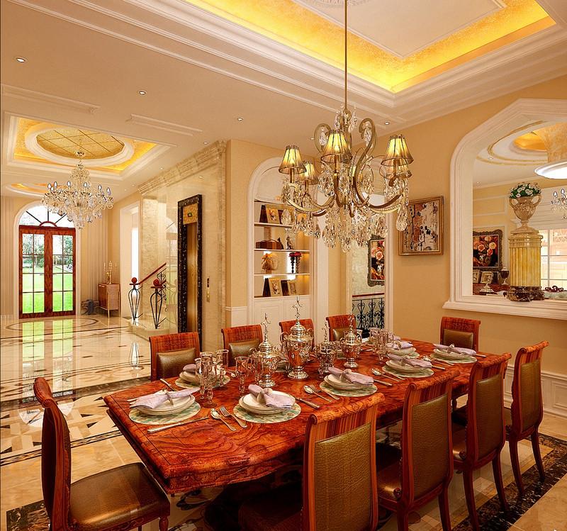 天骄御峰-500㎡-欧式古典-别墅-餐厅(图6)