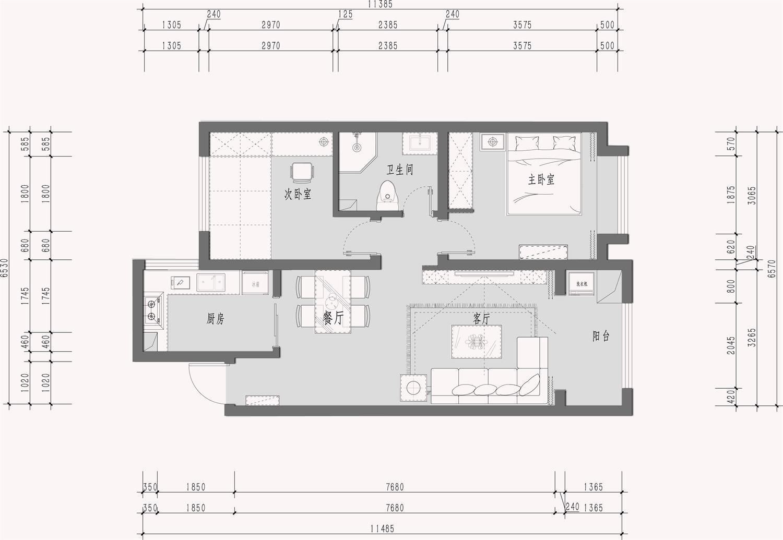 金隅和府 92㎡ 北欧装修设计理念