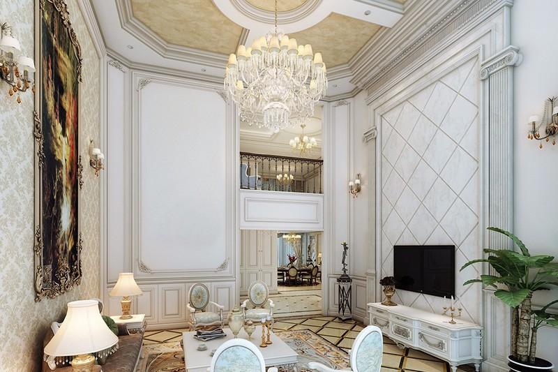 高端别墅装修设计客厅电视背景墙效果图