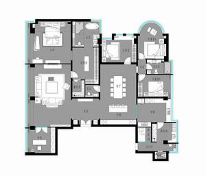 领秀慧谷-130平米-现代简约户型解析
