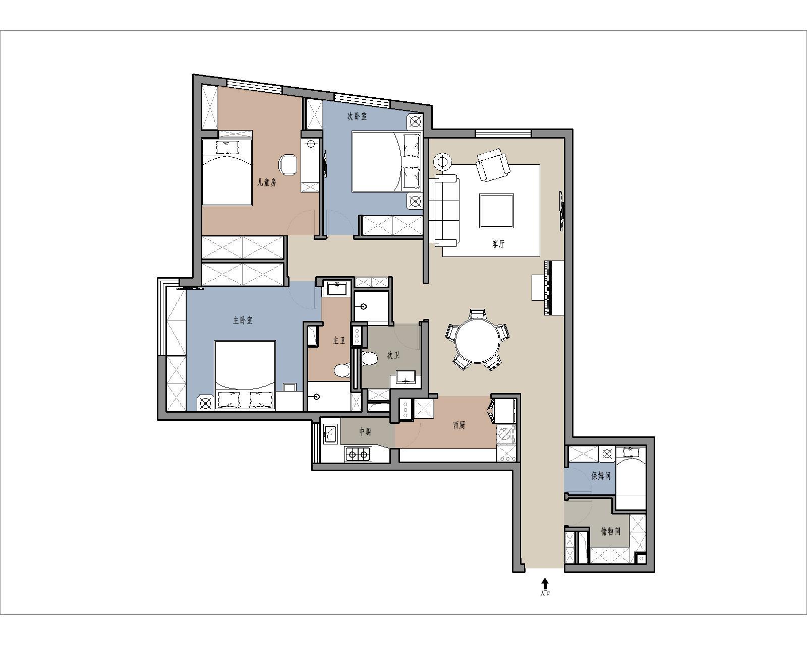 蓝堡国际-112.4平米-简美风格装修设计理念