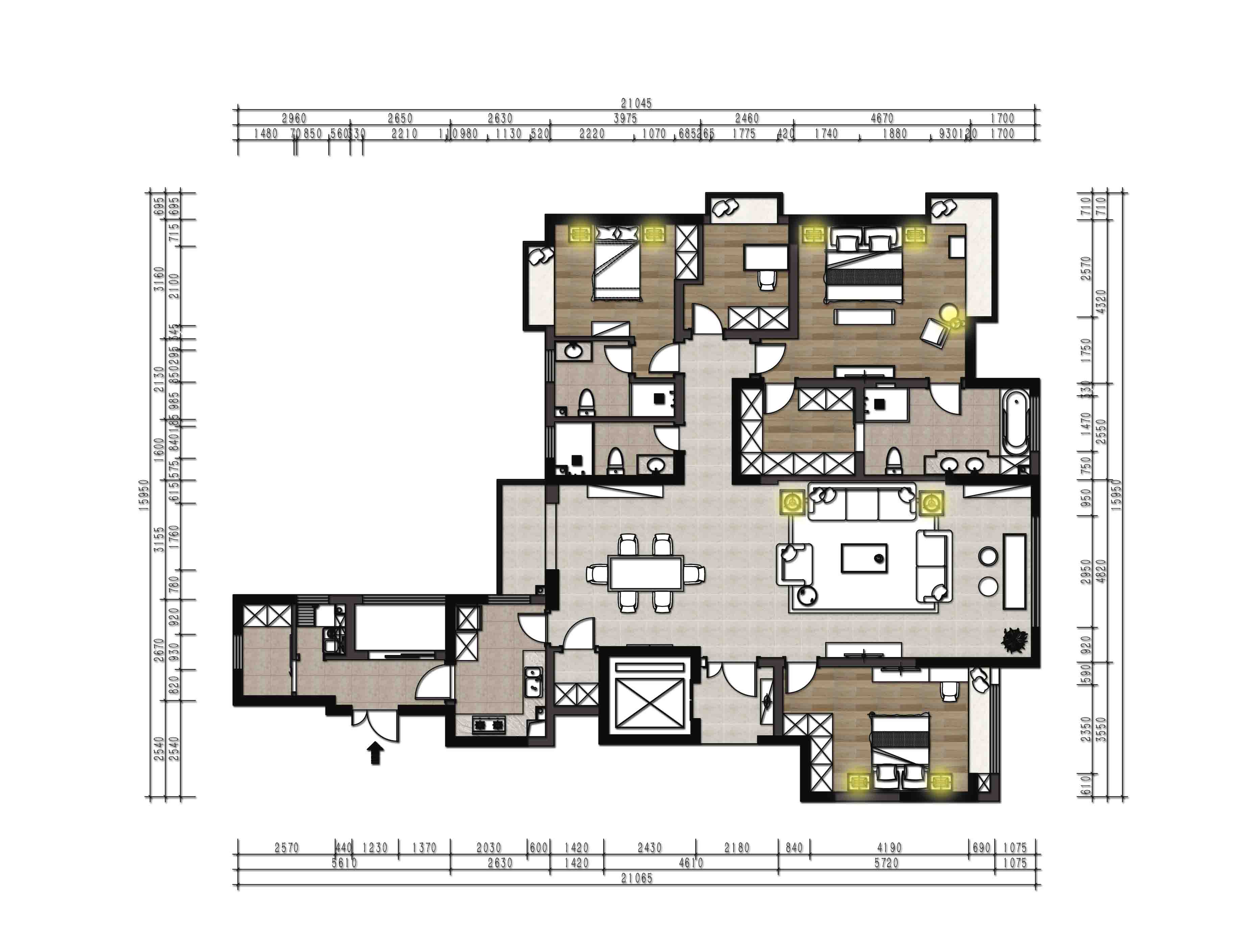 融景城+现代装修风格+185平装修设计理念