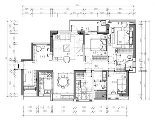 前海东岸同达阁-133平米-现代简约风格-装修设计方案图装修设计理念