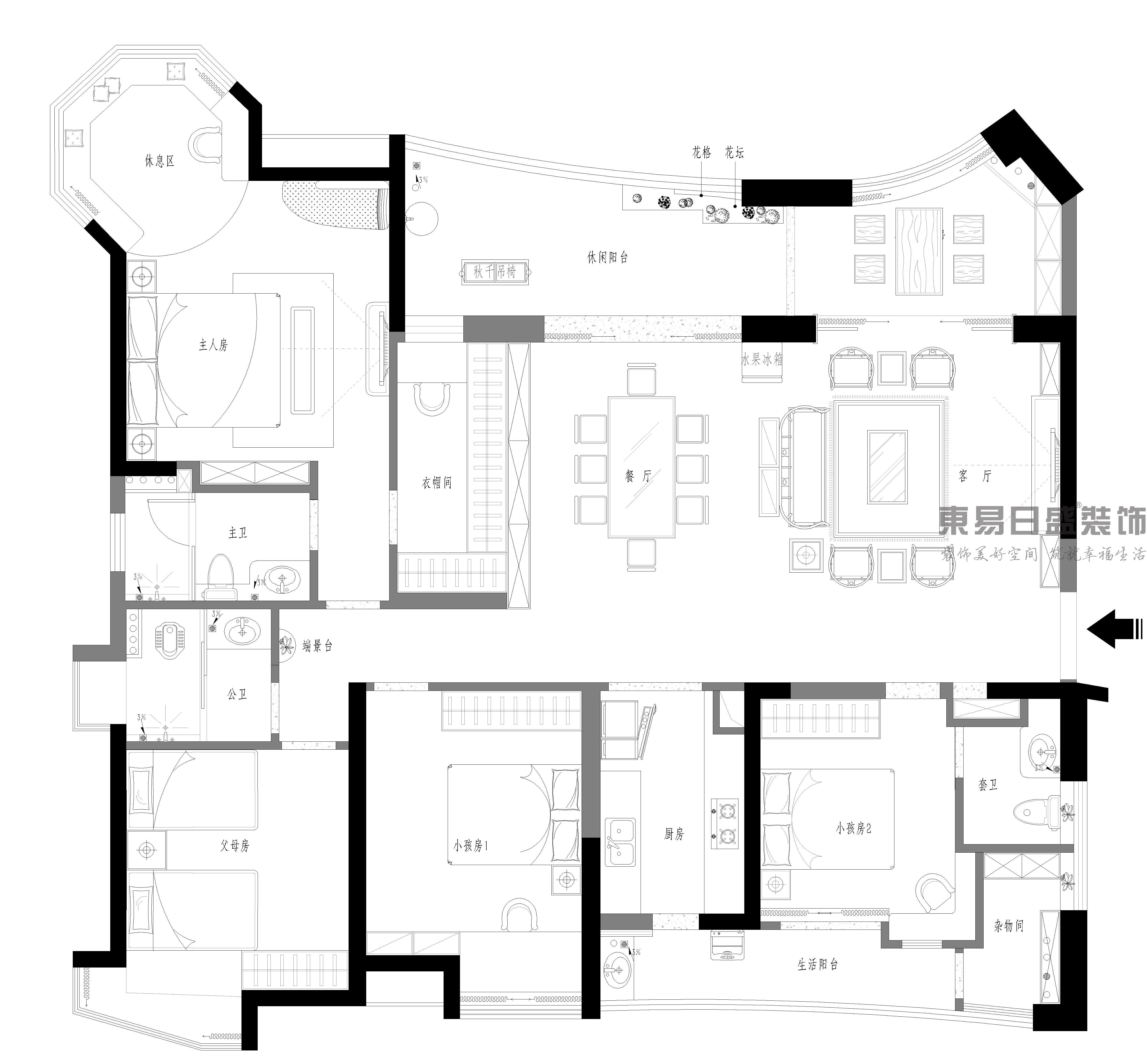 道滘君汇半岛-163㎡-新中式-四居室装修效果图装修设计理念