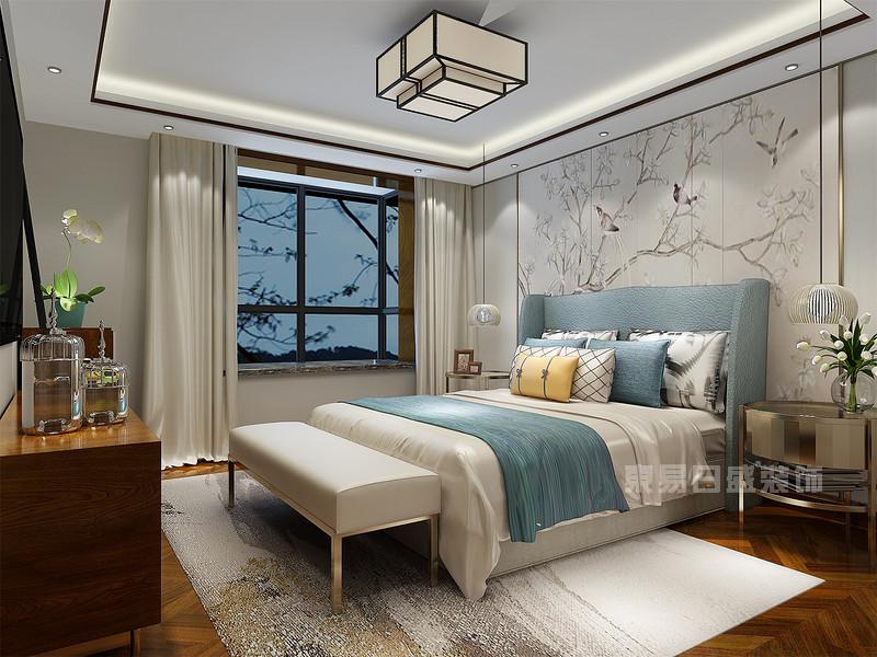 新中式 主卧室_背景墙装修效果图