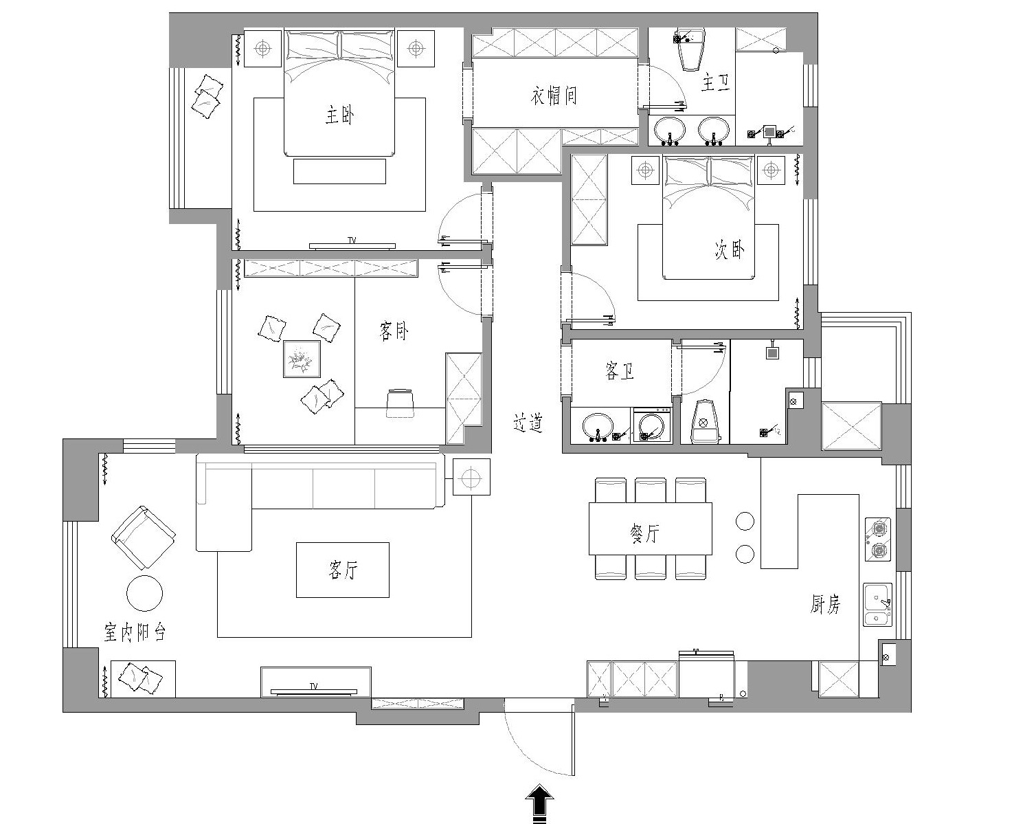 玉兰花园-现代简约-150平装修设计理念