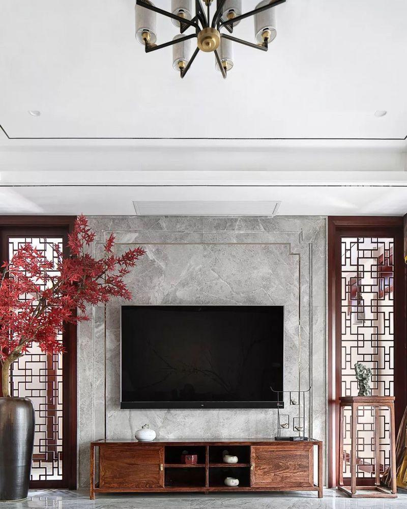 中国院子独栋别墅装修实景案例-客厅