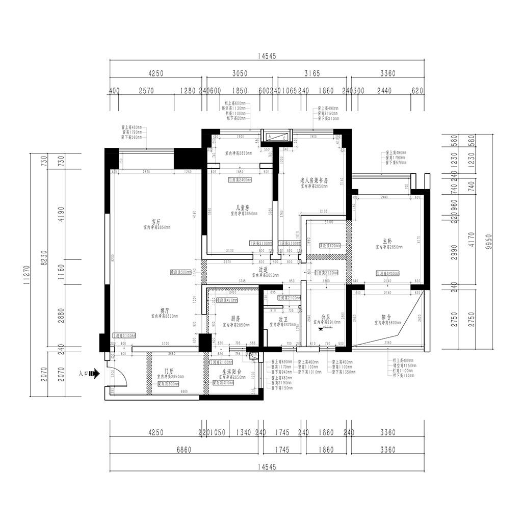 建发天府鹭洲140平米三居室现代美式风格装修设计理念