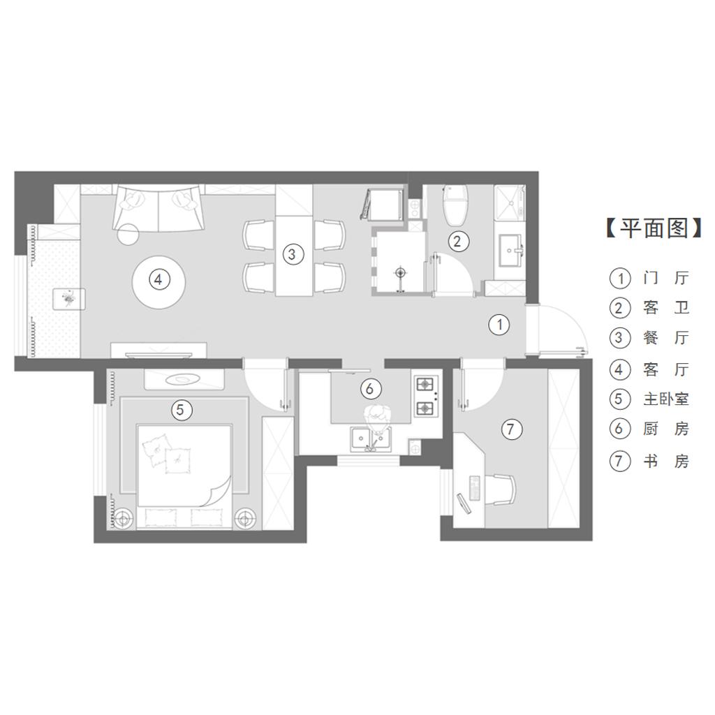 泰和一号公馆 60㎡  现代装修设计理念