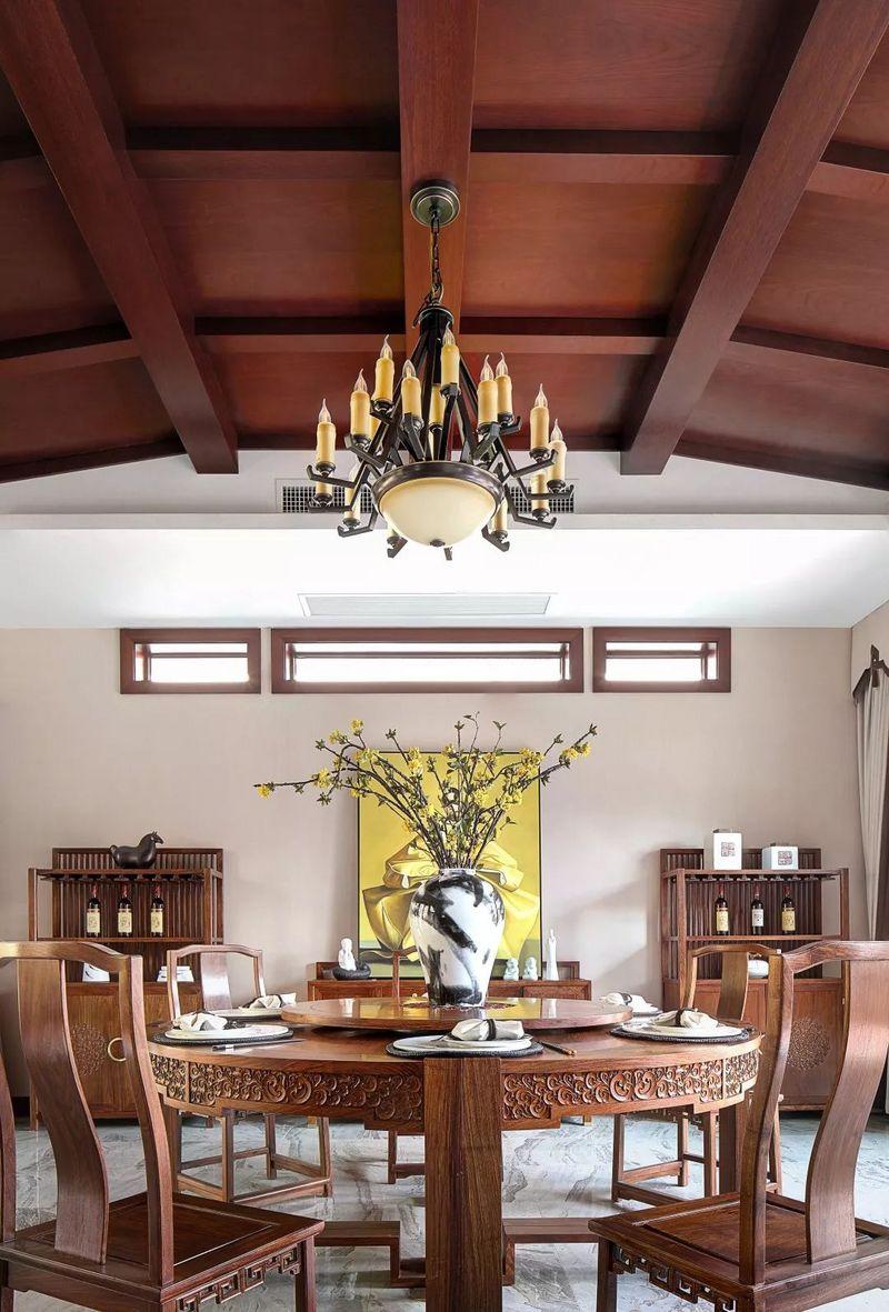 中国院子独栋别墅装修实景案例-餐厅