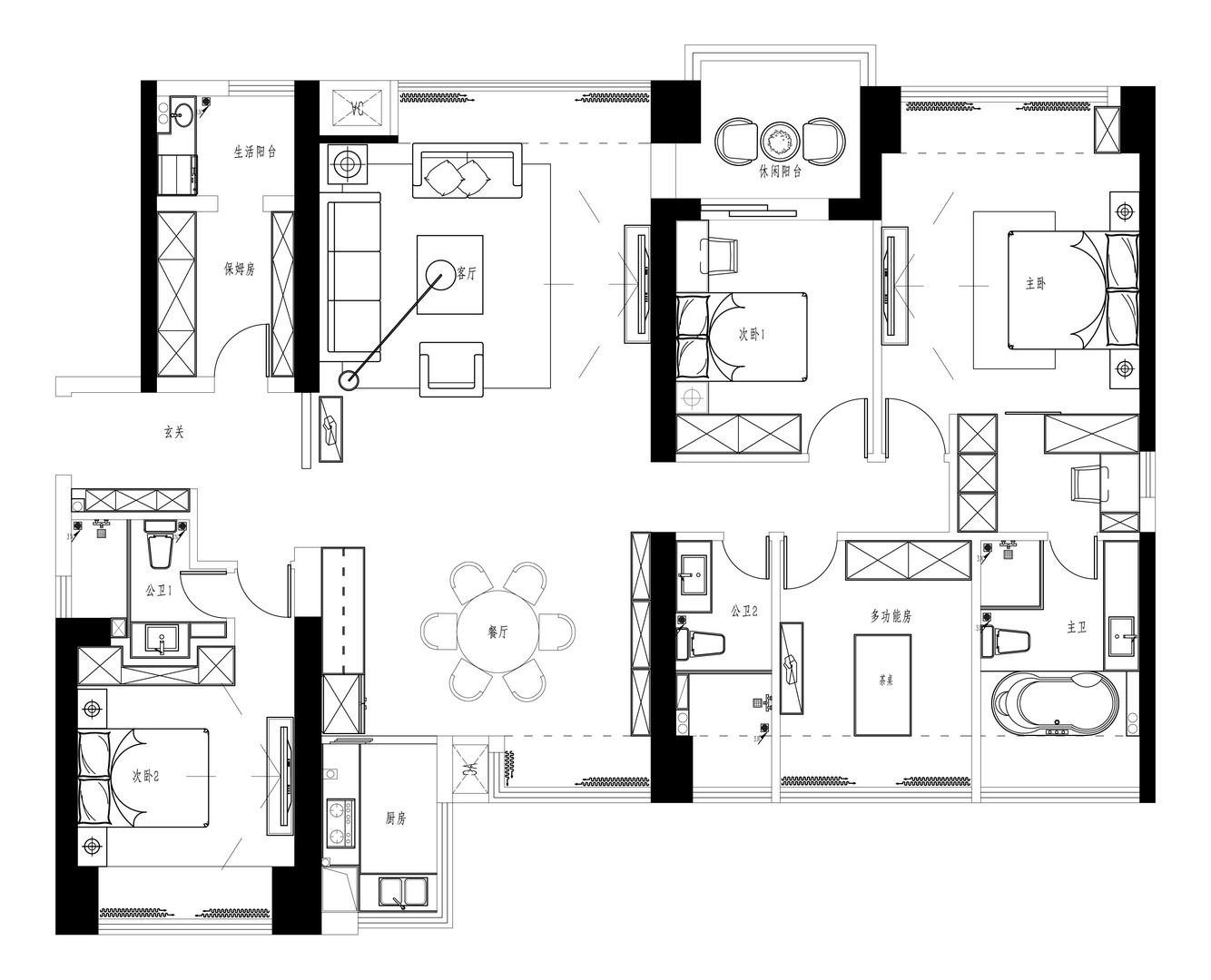香山美墅果岭-192平米装修-现代风格装修案例装修设计理念