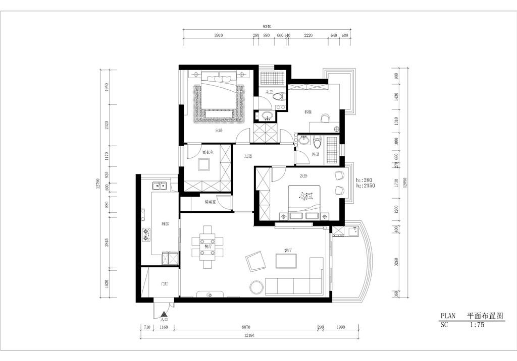 亿嘉广场145平现代简约设计装修效果图装修设计理念