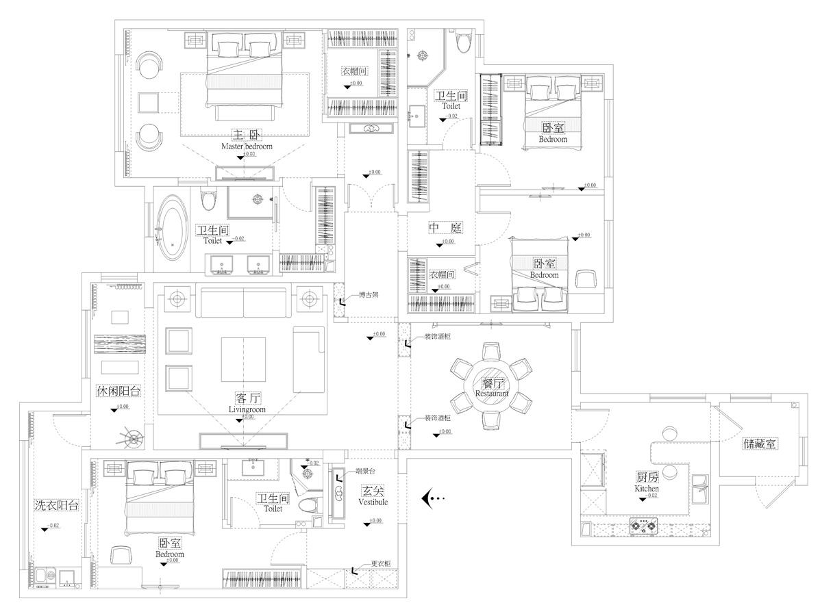 世茂首府240平米新中式风格装修设计理念