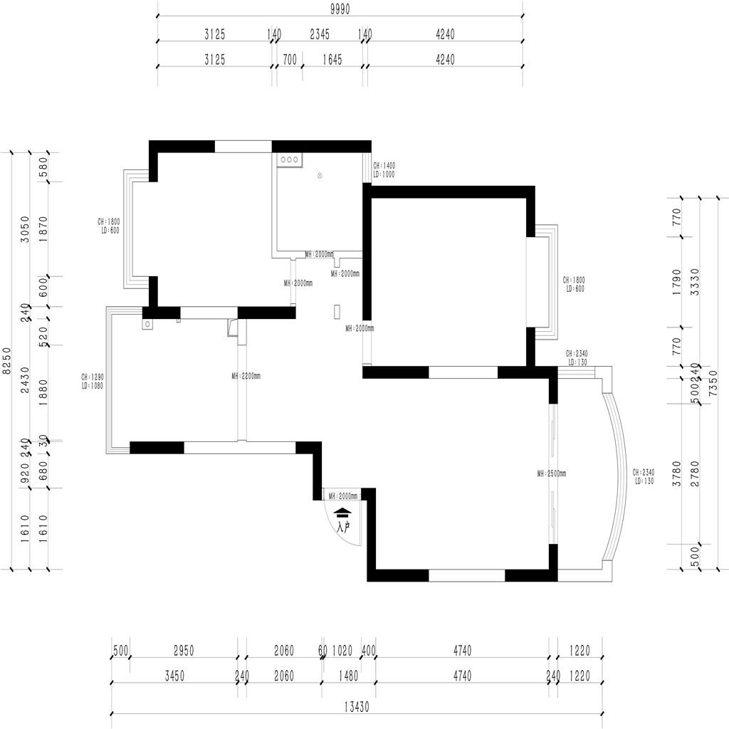 上海中鼎豪园110㎡现代简约风格装修效果图装修设计理念