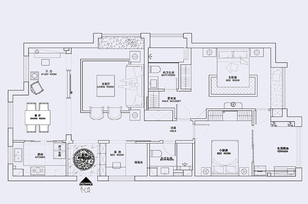 铂金湾124平新中式设计装修效果图装修设计理念