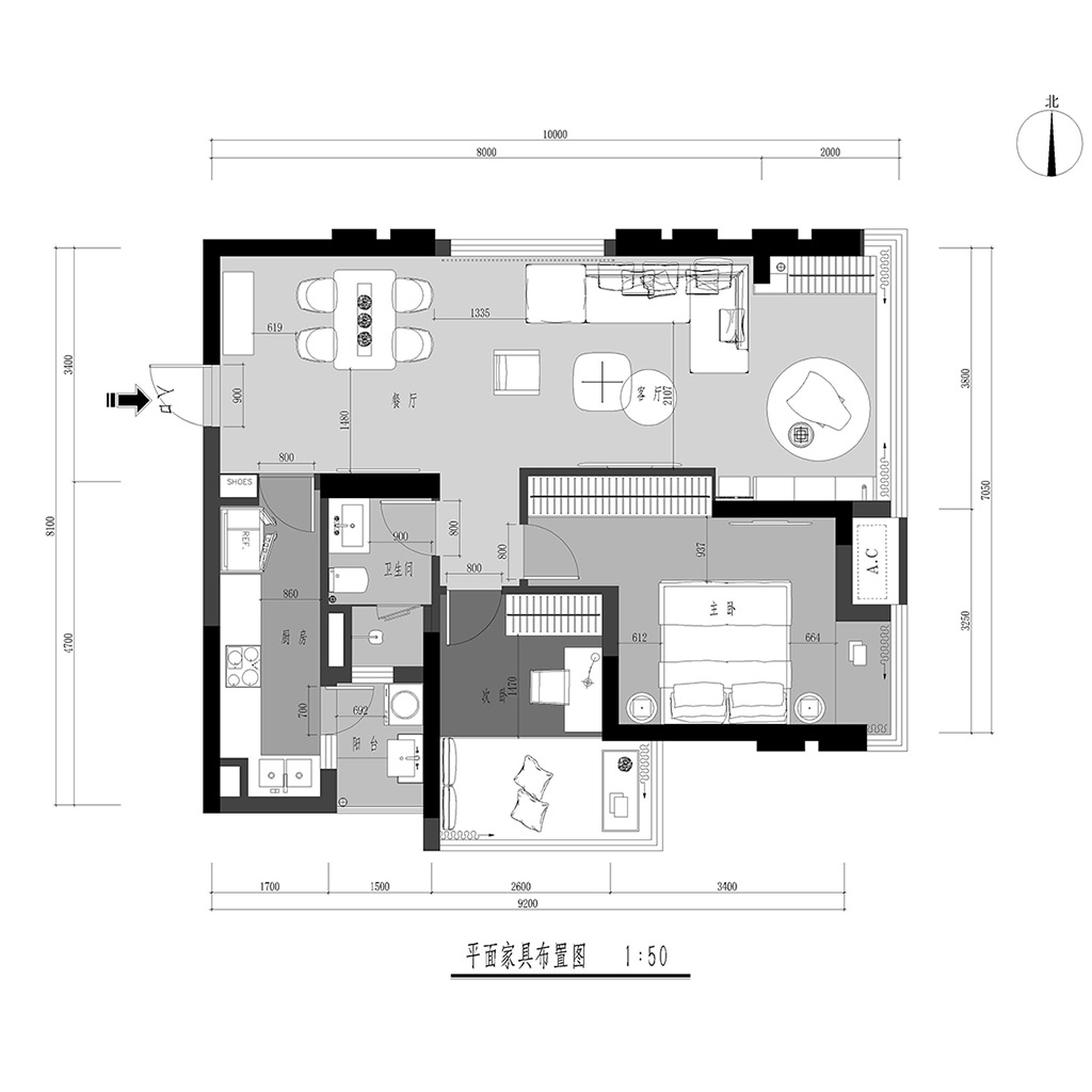 中德英伦世邦80平米北欧风格效果图装修设计理念