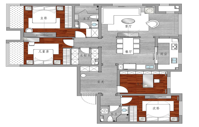 K2玉兰湾-现代简约-120平米装修设计理念
