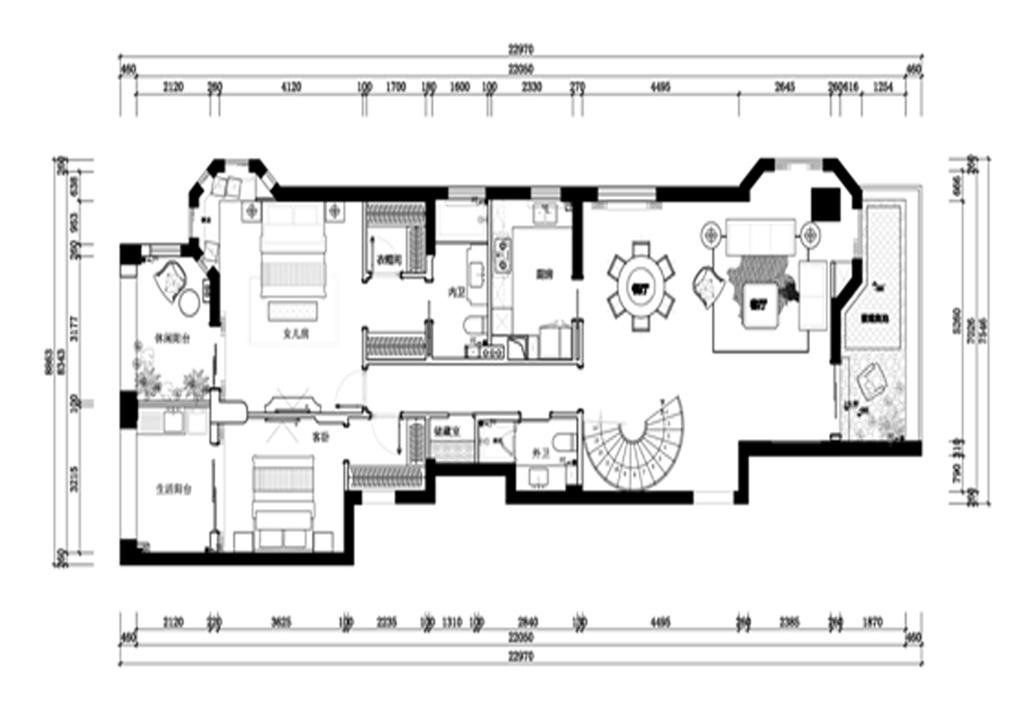 乾顺国际豪庭250平雅致主义设计装修效果图装修设计理念