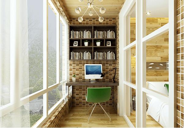 设计方案:阳台改书房装修效果图