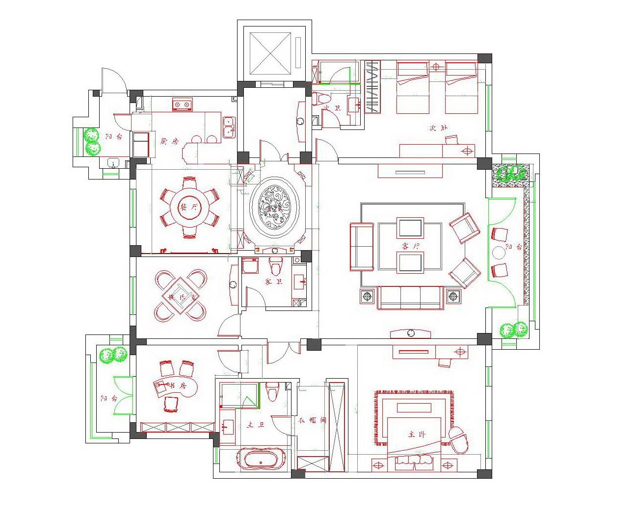 昆玉九里200平米简欧风格装修效果图装修设计理念